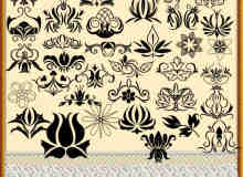 漂亮的花朵式花纹图案Photoshop笔刷素材