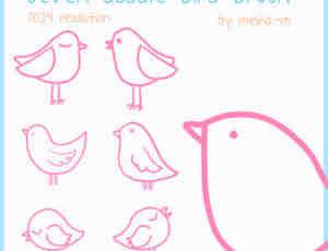 可爱卡通手绘线条小鸡图案photoshop笔刷素材