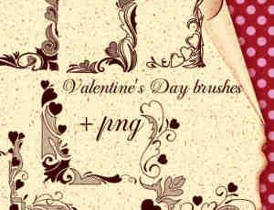 爱心花纹艺术边框、边角photoshop笔刷素材