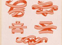 9种丝带式横幅背景图案photoshop笔刷素材