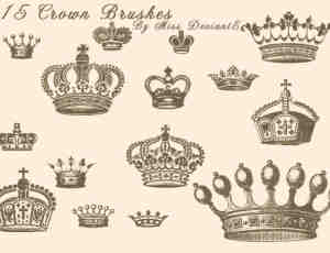 手绘卡通皇冠、王冠photoshop图案笔刷
