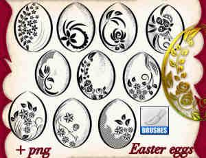 复活节彩蛋花纹图案photoshop笔刷素材