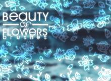小清新手绘鲜花、花纹图案photoshop笔刷素材