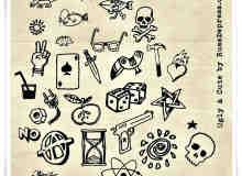 扑克牌、骰子、榔头、手枪、沙漏等卡通图案photoshop笔刷素材