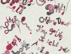 非主流卡通手绘涂鸦英文字母标语PS笔刷素材