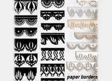 花边条纹、蕾丝边图案、十字绣边PS笔刷素材