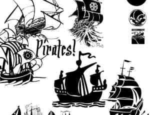 卡通矢量式海盗船、帆船photoshop笔刷素材下载