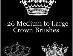26种不同样式的皇冠、王冠图案photoshop笔刷素材