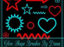 发光的梦幻五角星、爱心、箭头、波浪线等photoshop符号笔刷