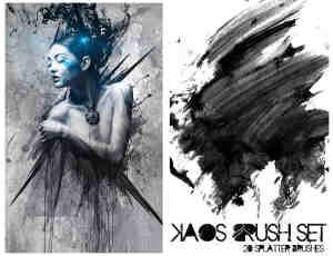 炫动水墨油彩泼洒挥动痕迹photoshop笔刷素材