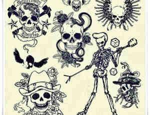 非主流骷髅头怪人图案、恐怖骷髅头艺术photoshop笔刷素材