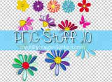 艳丽漂亮的卡通花朵、鲜花美图秀秀、可牛影像素材下载