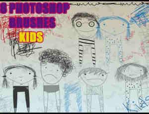 可爱童趣式手绘涂鸦男孩女孩photoshop笔刷素材