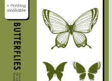 漂亮的蝴蝶剪影photoshop笔刷素材
