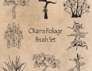 手绘中国传统画树木、桃树、竹子photoshop笔刷素材
