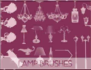 漂亮的吊灯、路灯、台灯等灯饰建筑装潢photoshop笔刷素材