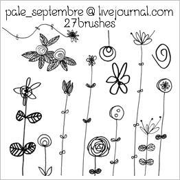 手绘童趣植物鲜花花纹图案photoshop笔刷素材