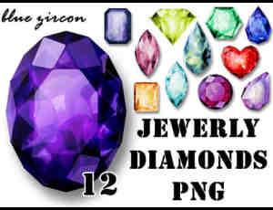 12种不同颜色的各色宝石美图秀秀png素材下载