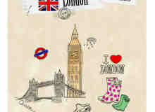 英国元素涂鸦装扮photoshop笔刷素材