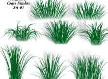 CG式简单的青草、草丛、草地photoshop笔刷素材