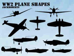 二战飞机剪影photoshop自定义形状素材 .csh 下载
