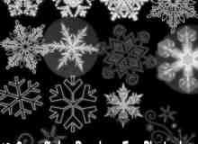 漂亮的雪花花纹、冰晶图案photoshop笔刷素材