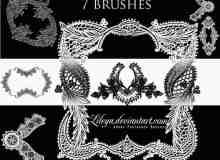 漂亮的蕾丝边花纹式花边装饰photoshop笔刷下载