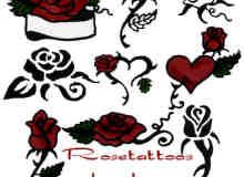 漂亮的手绘玫瑰花图案photoshop笔刷素材