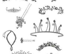 女性首饰皇冠、发卡、发簪等装扮photoshop笔刷素材