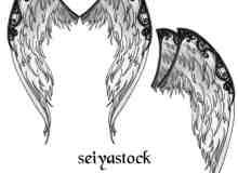 恶魔羽翼翅膀photoshop素材笔刷 #.1