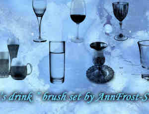 真实的啤酒杯、玻璃杯、水杯、酒杯、葡萄酒杯photoshop笔刷素材