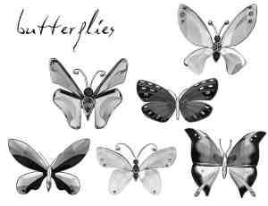 漂亮的水晶蝴蝶photoshop笔刷素材下载