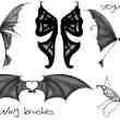 手绘妖精翅膀、恶魔翅膀、精灵翅膀、吸血鬼翅膀、蝙蝠翅膀PS笔刷素材#.1