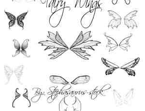 手绘精灵翅膀、妖精翅膀、蝴蝶翅膀photoshop笔刷素材