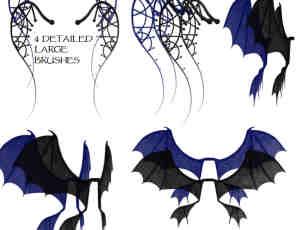 恶魔魔鬼蝙蝠翅膀photoshop笔刷素材