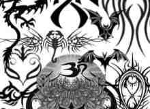 神秘鬼怪恶魔图案刺青、纹身、纹饰photoshop笔刷素材