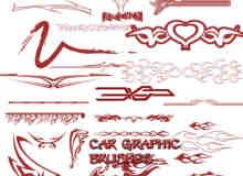 酷炫汽车贴纸图案photoshop笔刷素材