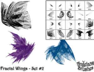 酷酷的光影分形翅膀photoshop笔刷素材#.2