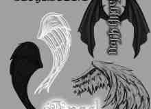 恶魔羽翼翅膀photoshop素材笔刷 #.2