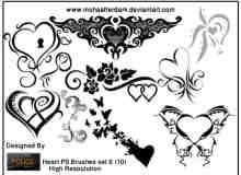 艺术效果爱心、爱情花纹图案photoshop笔刷素材下载