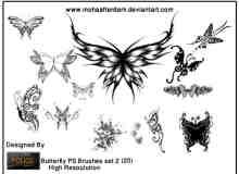 漂亮的蝴蝶花纹艺术photoshop图案笔刷素材 #.2