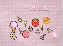 卡哇伊卡通草莓、饼干、小星星、冰欺凌美图秀秀png图片素材