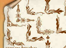 漂亮的花纹边角图案photoshop笔刷素材