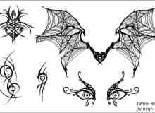 蝙蝠纹饰、恐怖眼睛纹身PS图案笔刷