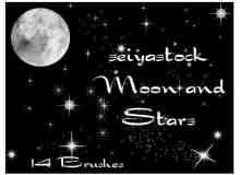 月亮与星辰、星星PS装饰笔刷素材