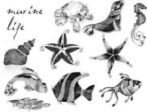 水晶工艺品海螺、乌龟、海豹、海马、海星、小丑鱼等海洋生物PS笔刷素材