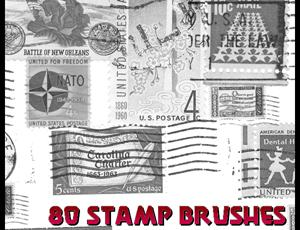 古董邮票PhotoShop笔刷素材
