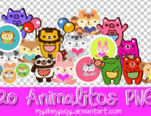 20种可爱动物小徽章美图秀秀png素材下载