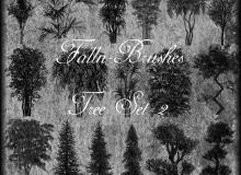各种热带树木森林、丛林、灌木植物photoshop笔刷素材下载