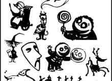 万圣节卡通人物装饰PS笔刷素材下载